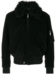 куртка с отделкой из овечьего меха Saint Laurent