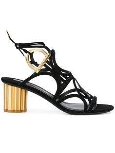 босоножки на контрастном каблуке Salvatore Ferragamo