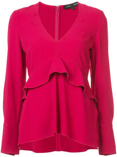 блузка с V-образным вырезом и оборками Proenza Schouler