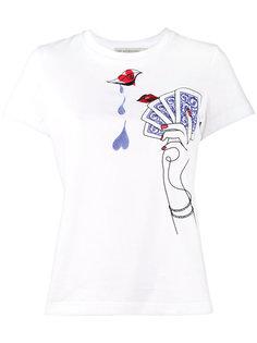 футболка с вышитыми картами Mary Katrantzou
