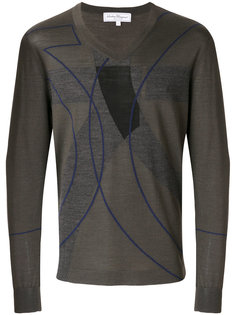 свитер с V-образным вырезом с рисунком Salvatore Ferragamo