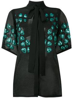 полупрозрачная блузка с цветочной отделкой  Elie Saab