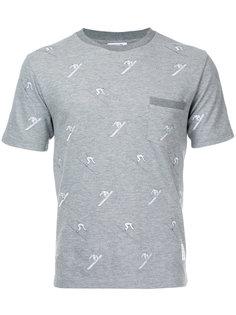 футболка с вышитыми лыжниками Thom Browne