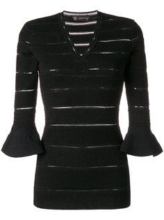 свитер с V-образным вырезом с панельным дизайном Versace