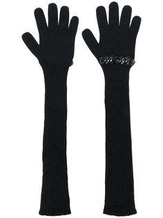 перчатки с ребристой фактурой с украшением из пайеток Nº21