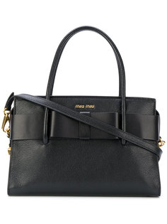 сумка-тоут с фирменной бляшкой Miu Miu