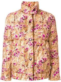 дутая куртка с цветочным узором Prada