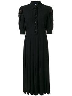 плиссированное платье-рубашка Prada