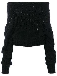 свитер с открытыми плечами с украшением из кристаллов Alberta Ferretti