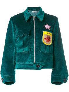 бархатная куртка с аппликацией Miu Miu