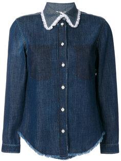 джинсовая рубашка с воротником с кружевной отделкой Miu Miu