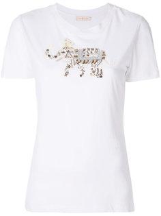 футболка со слоном с блестящим декором Tory Burch