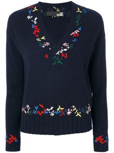 свитер с V-образным вырезом с вышивкой Love Moschino