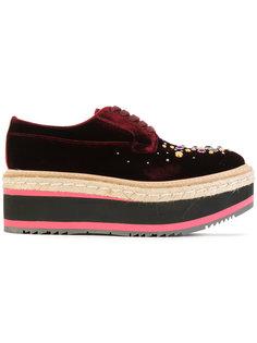 туфли на платформе со шнуровкой и поделочными камнями  Prada