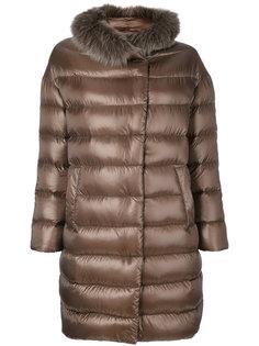 дутое пальто с меховой отделкой  Herno