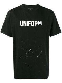 футболка с эффектом разбрызганной краски и принтами Uniform Experiment