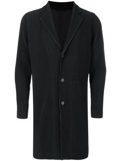 однобортное плиссированное пальто Homme Plissé Issey Miyake
