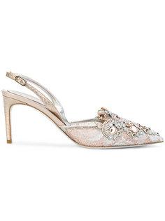 туфли без задника с кружевной отделкой René Caovilla