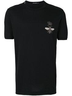 футболка с аппликацией в виде пчелы в короне Dolce & Gabbana