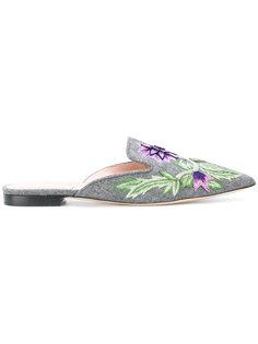 слиперы с цветочной вышивкой Alberta Ferretti