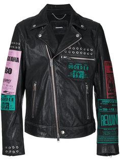 байкерская куртка с разноцветными принтами Diesel