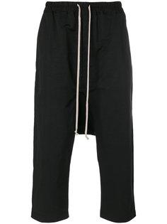 укороченные брюки с заниженным шаговым швом  Rick Owens