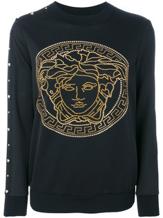 толстовка с украшением из заклепок Medusa Versace