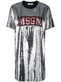 платье с отделкой пайетками  MSGM