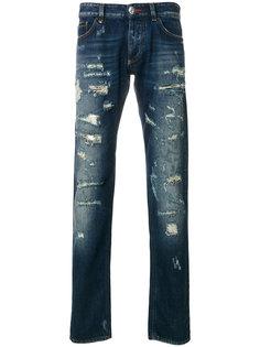 состаренные прямые джинсы Philipp Plein