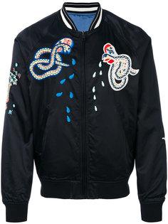 куртка-бомбер с вышивкой змеи Diesel
