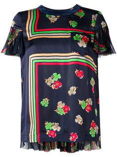 блузка с полупрозрачной спинкой и рисунком Sacai