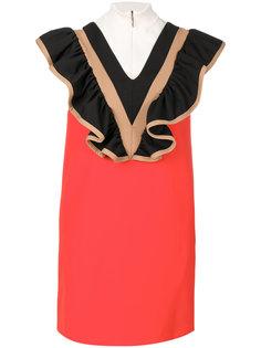 платье с высоким воротом и оборками  MSGM