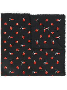 шарф с красными сердцами, молниями и пламенем Saint Laurent
