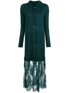 платье-толстовка с кружевным подолом Twin-Set