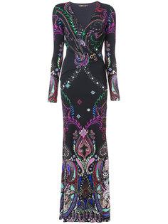 приталенное платье с узором пейсли Roberto Cavalli