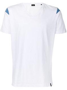 футболка с V-образным вырезом и джинсовыми вставками Diesel