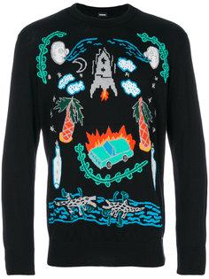 свитер с графическим узором Diesel