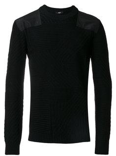фактурный вязаный свитер с заплатками на плечах Versus