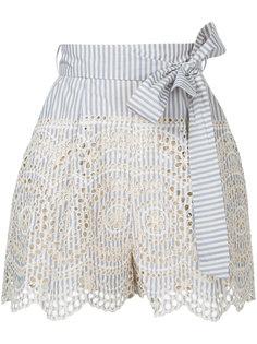 полосатые шорты с отделкой шитьем Zimmermann