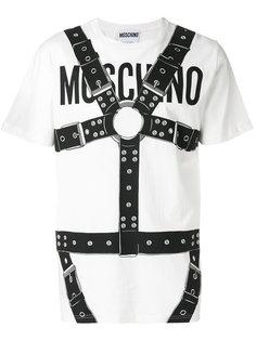 футболка с принтом в виде портупеи Moschino