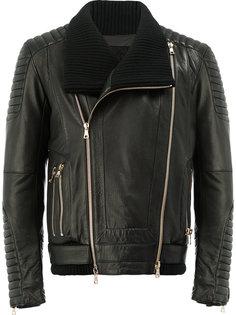 кожаная байкерская куртка Balmain