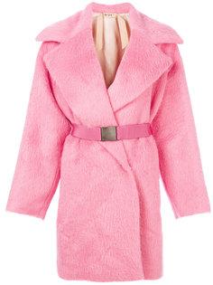 пушистое пальто с поясом Nº21