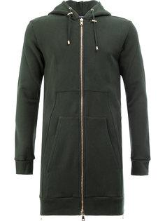 удлиненная куртка на молнии с капюшоном Balmain
