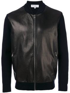 куртка-бомбер  из кожи и шерсти  Salvatore Ferragamo