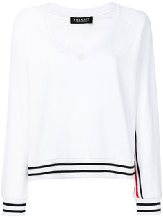 свитер с глубокой V-образной горловиной и полосками Twin-Set