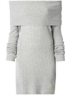 ребристое трикотажное платье с воротником-шалькой Twin-Set