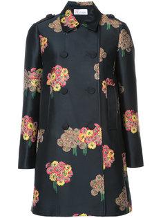 двубортное пальто с цветочным принтом Red Valentino