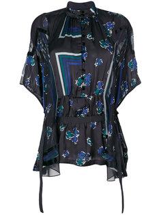 прозрачная блузка с геометрическим и цветочным принтом Sacai