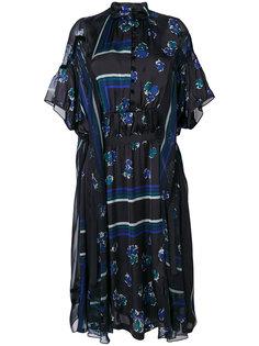 прозрачное платье с геометрическим и цветочным принтом Sacai