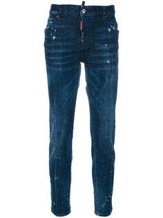 прямые джинсы с разводами краски  Dsquared2